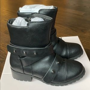 Amiana Black Leather Toddler Girls Boots Sz 12-NWT